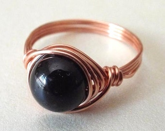Black Tourmaline Ring, Black Stone Ring, Promise Ring, Copper Ring, Gothic Ring, Black Ring, Homemade Jewelry, Tourmaline Jewelry, Wire Ring