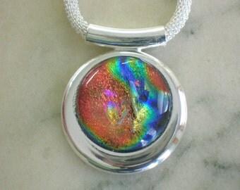 Rainbow Dichroic Focal Pendant on Silver Plated Chain
