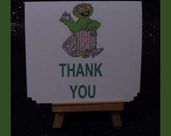 Oscar the Grouch notes, Oscar cards , Oscar the Grouch thank you card package of 10