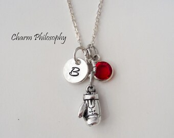 Boxing Glove Necklace - 925 Sterling Silver Jewelry - Personalized Initial - Swarovski Birthstone Bead - Boxing Gifts