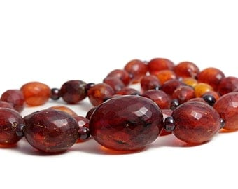 Amber Necklace Garnet Olive Vintage Antique Amber Jewellery huge Russian Stone genuine Amber beads authentic amber