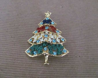 Vintage Christmas Tree Brooch, 1960's Enamel, Rhinestone Christmas Tree Brooch, Christmas Tree Pin, Holiday, Christmas Jewelry