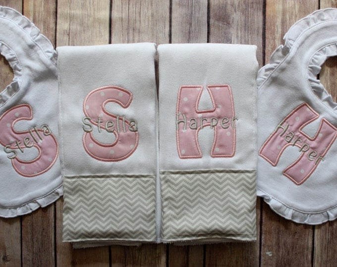 Twin Burp Cloth Ruffled Bib Baby Girl Gift Set, Pink Grey Burp Cloth Bib Set for Twin Girls, Monogrammed Personalized Burp Cloth Custom Gift
