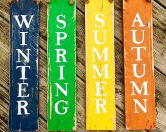 Four Seasons Wood Pallet Door Knob Hangers - Seasonal Colors