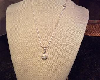 Moonstone Gemstone Pendant Necklace in Sterling Silver Design
