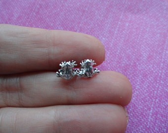 Sterling silver frog stud  earrings