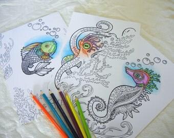 Set of Three Sea Life DIY Art - Printable Adult Coloring Pages - Digital Download