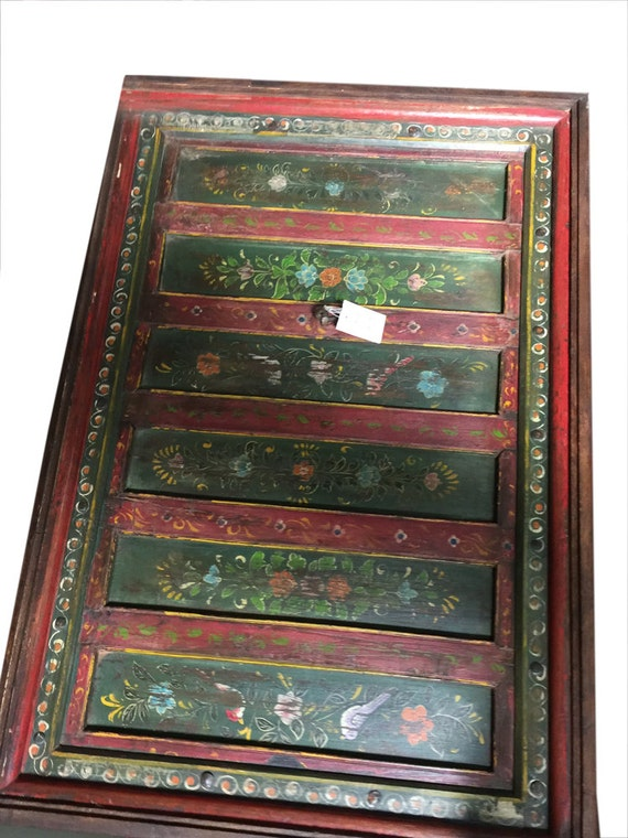 Bohemian Antique Coffee Table Floral Hand Painted By