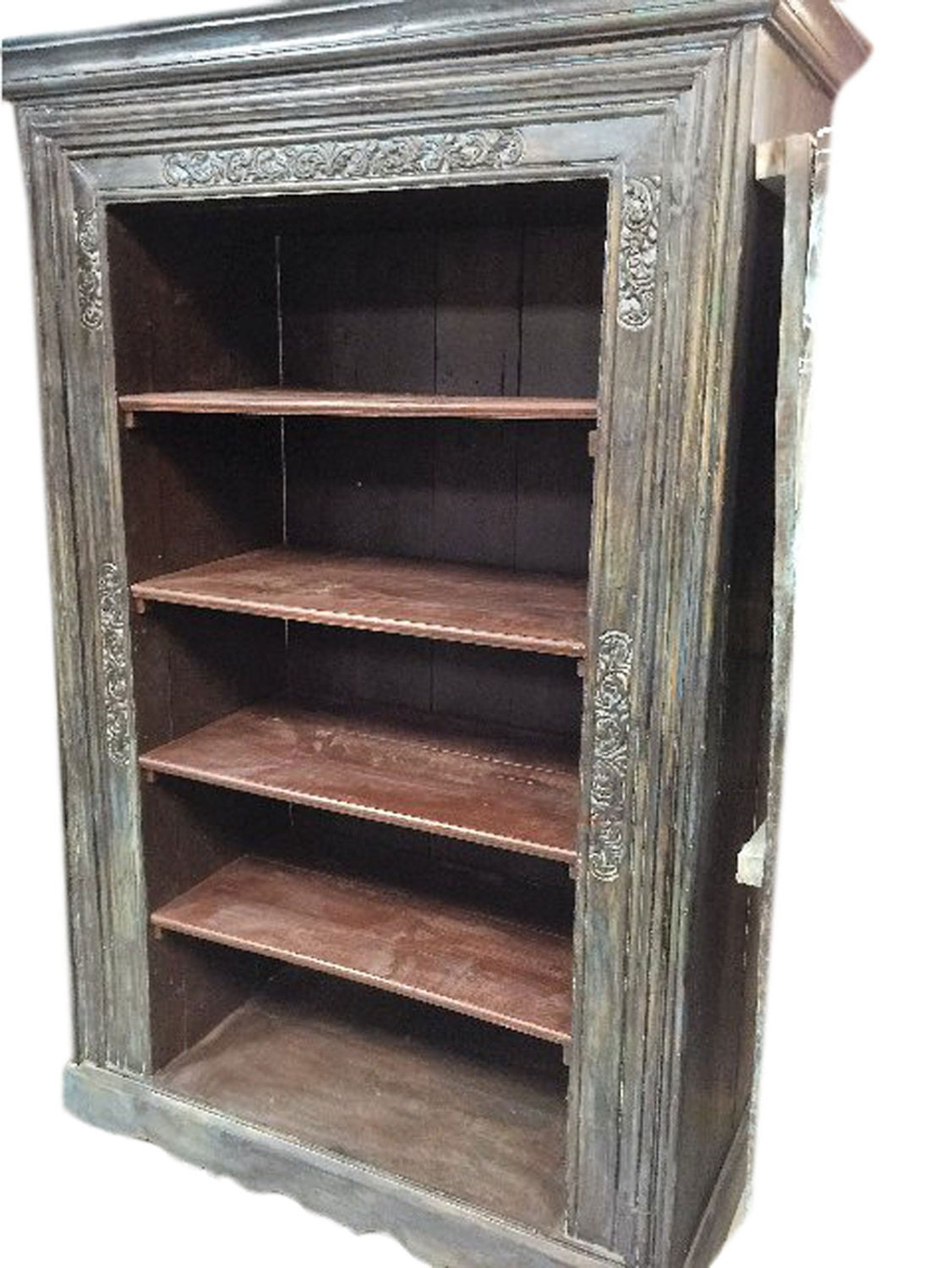 Hand Carved Bookshelf ~ Antique indian bookcase hand carved book shelf furniture