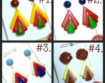 "vintage reproduction of triangle bakelite earrings - made from ""fab-a-lite"" WWII 40s"