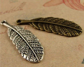 60 Feather Charms, 34mmx11mm Brass / Silver Tone Feather Pendants A3654