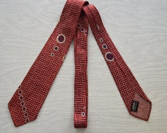 Vintage 1950s Red Patterned Silk Tie by Arrow