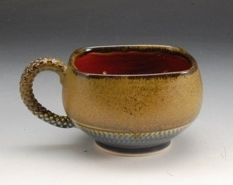 Handmade espresso or tea cup Brown Blue  Red Stoneware by Mark Hudak
