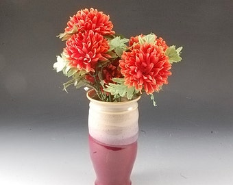 Handmade Stoneware Pottery Vase Red and Tan by Mark Hudak