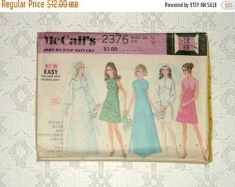 HOTSALE Vintage 70s High Neck Empire Waist Bridal Wedding Gown Pattern sz12