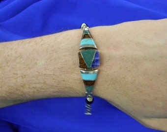 "Sterling Silver 925 Exquisite Multi-Colored Stone Bracelet 7 1/2"" ET 6104"