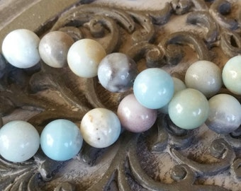 Amazonite Round Beads 10mm Gemstone Beads 30pcs, Summer Beads, Beach Vibe Beads,  10mm Amazonite
