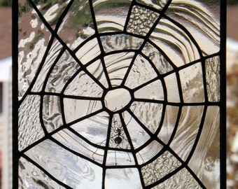 Stained Glass Panel Textured Clear Glass Spider Web Original Handmade