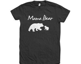 Mom Mama Bear Hand Screen Print American Apparel Crew Neck Tshirt 100% Cotton Graphic Tee