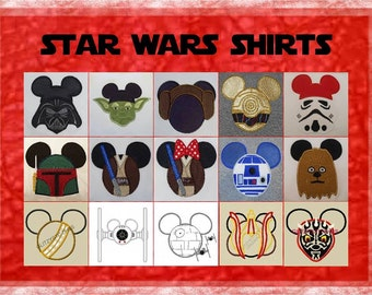 Star Wars Force Awakens Disney Mister Miss Mouse Star Wars Shirt - Dark Fader Princess Lela Yoduh BB8 Kylo Ren Rey R3D3 Storm Fighter