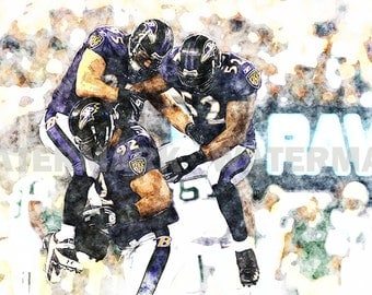 New Haloti Ngata, Ray Lewis, Baltimore Ravens, NFL, Limited Art Print, Signed & Numbered by the Artist, Includes Seal of Authenticity.