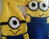 Minion Scarf, crochet, hand made, Despicable Me, Minions, adult size, home made
