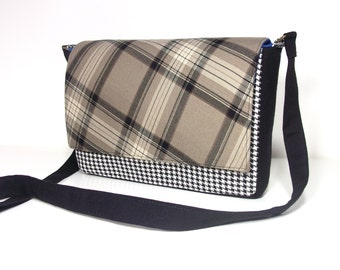 Small messenger style bag - multi-patterned - plaid and houndstooth - upcycled