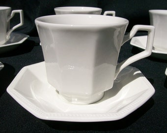6 Sets Johnson Brothers Heritage White Cups and Saucers