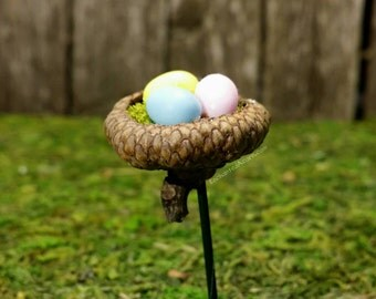 Miniature Easter Eggs in an Acorn Cap Nest - Fairy Garden Accessory, Miniature Acorns, Faerie Garden Decor, Terrarium Minis Easter Bunny
