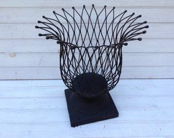 Iron Basket Rustic Wrought Iron Home Decor Wire Basket Metal Farmhouse Decor Industrial Decor Kitchen Storage Centerpiece
