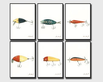 PRINT- Set of 6 Prints -Vintage Fishing Lures - saltwater Gamefish fishing bite lure - saltwater fish art sea decor- Art Print by Juan Bosco