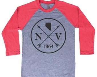 Homeland Tees Nevada Arrow Tri-Blend Raglan Baseball Shirt