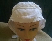 White Victorian Bonnet Handmade Piqué Fleece Cotton Long Straps French Antique Clothing for Costumes Movies Plays