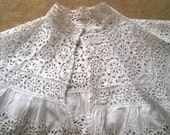 Victorian Eyelet Lace Collar Hand Embroidered White Cotton Caplet French Handmade