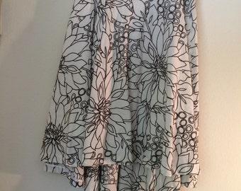 Embroidered Linen Skirt, White And Black Skirt,  White Linen Skirt, Dual length skirt, Flared Linen Skirt, Floral Skirt, Embroidered Sk