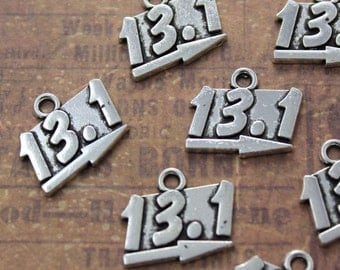 10 Pcs 13.1 Sign Charms Antiqued Silver Tone  18 x 12 mm