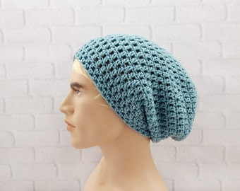 Grunge Style Hat, Crochet Slouch Beanie, Beanie for Men, Hipster, Winter Beanie, Sea Blue Slouch Hat, Vegan Friendly, Baggy Hat, Slouchy Hat