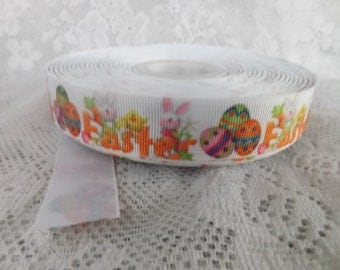 Easter ribbon Easter grosgrain ribbon  7/8 Grosgrain ribbon easter egg ribbon