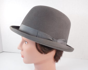 Vintage Grey Bowler Hat Gray Kentucky Derby English Equestrian Riding Hat Steampunk Derby Hat Size 6 7/8 By Carl Meyers Lexington Kentucky