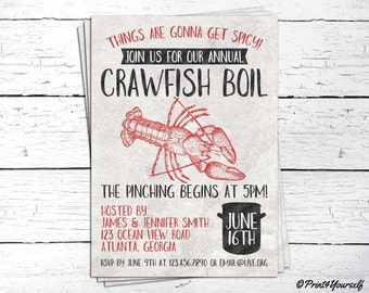 Crawfish Boil Invite // Personalized Printable Rustic Crawfish Boil Invitation // Crawfish Invite // Summer Invite // Seafood Invite