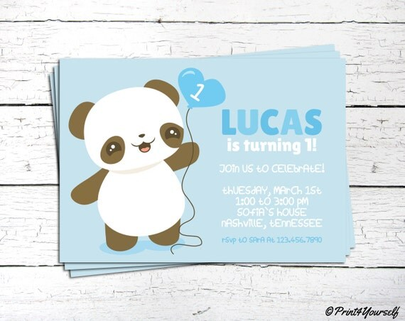 Panda Invite Personalized Printable Cute Blue Baby Boy First