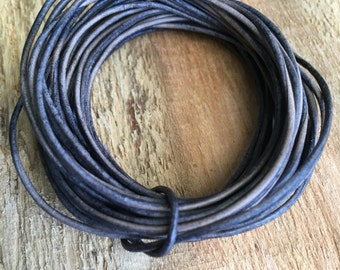 1mm gray leather cord, natural gray leather, 15 feet