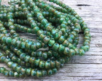 4x3 turquoise green trica beads, small round faceted czech glass beads, turquoise czech glass beads