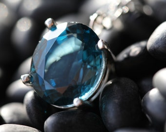 London Blue Topaz Pendant with Sterling Silver Chain