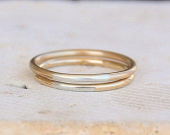 Transitions Silver and Gold Ring / Mixed Metals Wedding Ring / Round Wedding Band / Stacking Ring / Gift for Her / Handmade / Eco Friendly