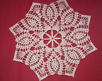Handmade lace crochet doily, ecru - off white or beige 11 inches