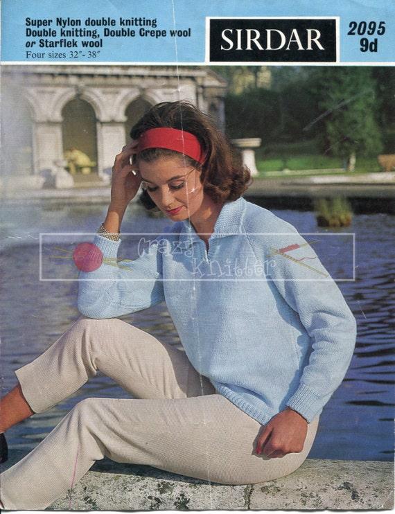 "Lady's Shirt Sweater 32-38"" DK Sirdar 2095 Vintage Knitting Pattern PDF instant download"
