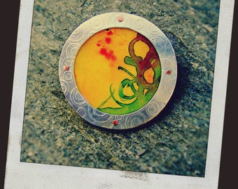 Sterling Silver Multi-Layered Watercolor Pendant/Brooch