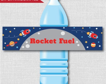 Printable Rocket Fuel Party Water Bottle Labels -  Outer Space Birthday Party - Digital Design - INSTANT DOWNLOAD