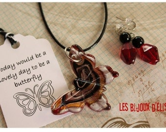 Sale - Butterfly Lampwork Pendant Necklace Red and Black Necklace